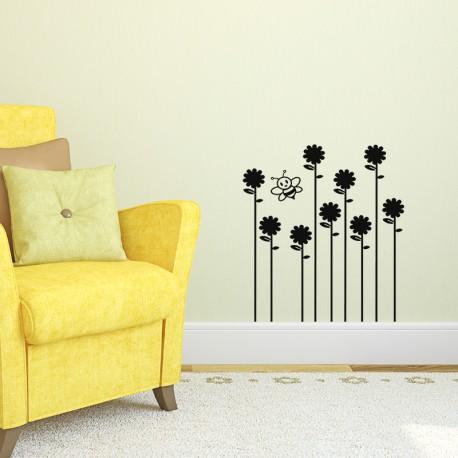 Sticker abeil butinant sur des fleurs