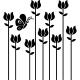Sticker papillon butinant sur des fleurs