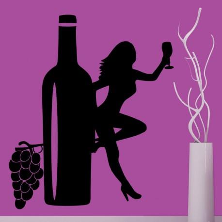 Sticker femme et bouteille de vin