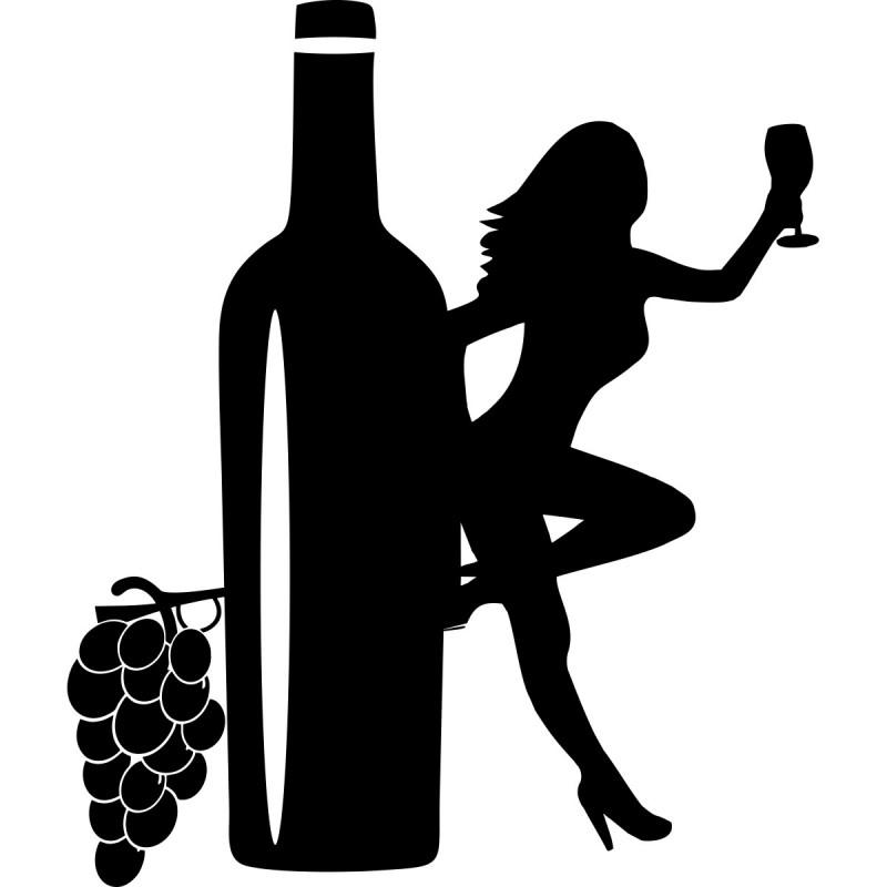 Chambre Garcon Sport : Sticker femme et bouteille de vin