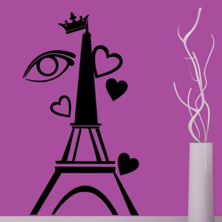 Sticker Tour Eiffel, oeil et coeurs