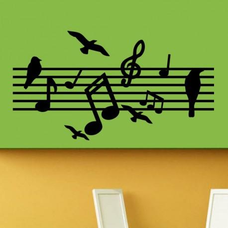 Sticker notes de musiques et oiseaux
