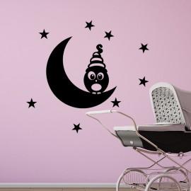 Sticker hibou sur croissant de lune et étoiles