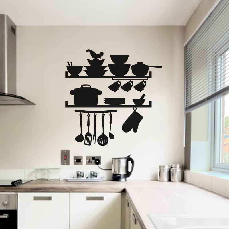 sticker ustensiles de cuisine. Black Bedroom Furniture Sets. Home Design Ideas