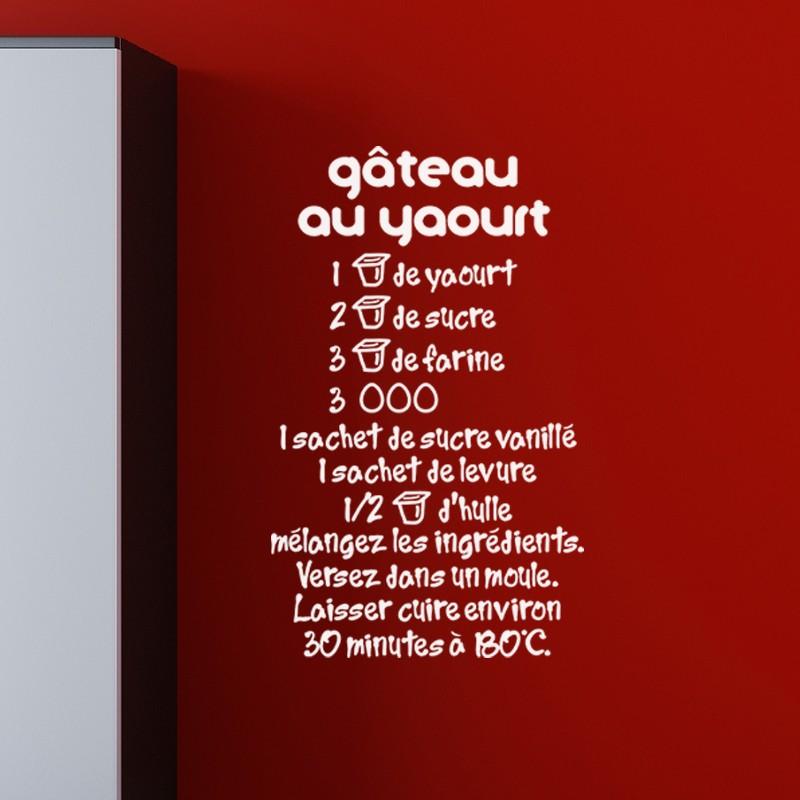 Chambre Garcon Sport : Sticker recette de g teau au yaourt