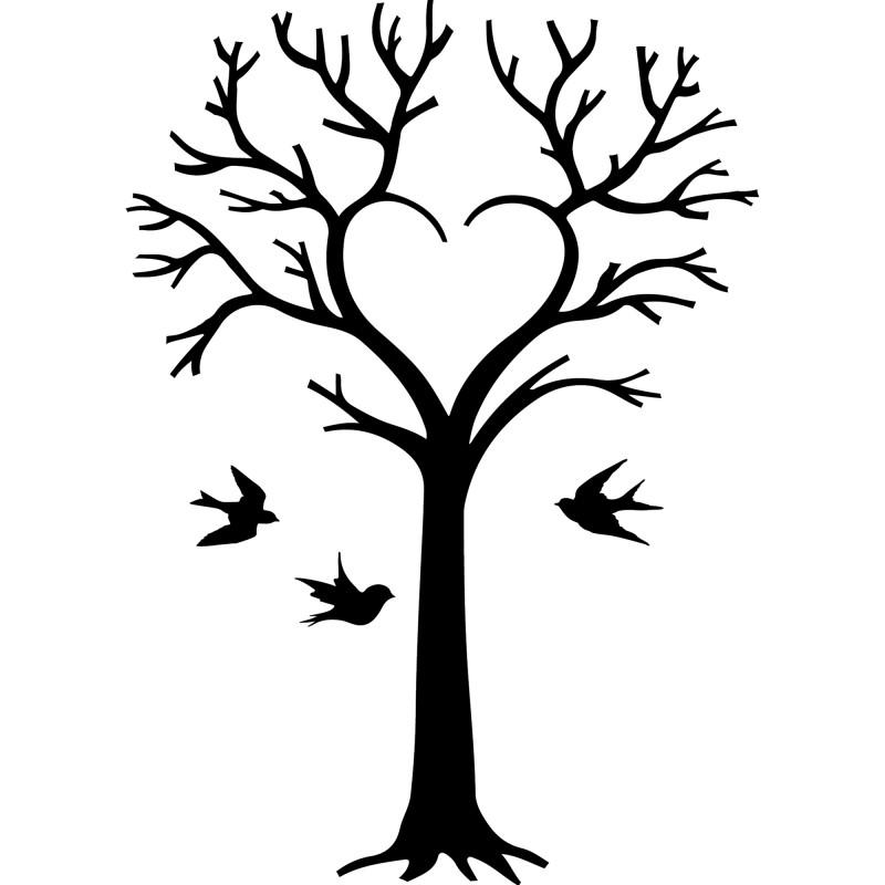 sticker arbre en coeur et oiseaux. Black Bedroom Furniture Sets. Home Design Ideas