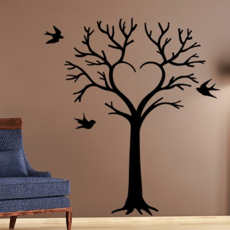 sticker arbre en coeur et oiseaux. Black Bedroom Furniture Sets. Home Design Ideas