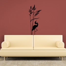 Sticker plante et flamant rose