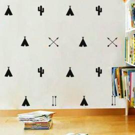 Sticker huttes indiens, cactus et flèches