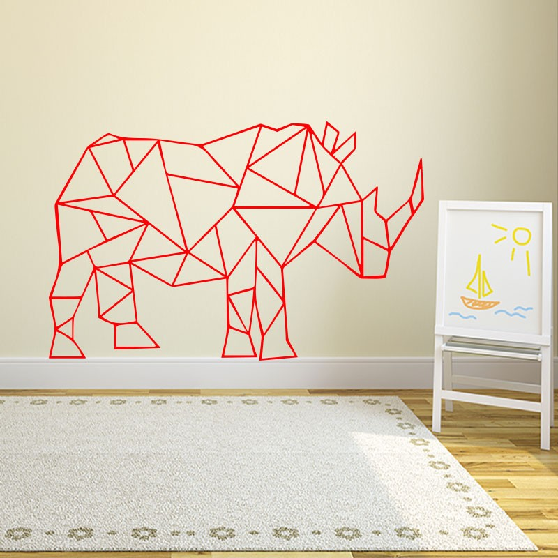 sticker rhinoc ros en origami. Black Bedroom Furniture Sets. Home Design Ideas