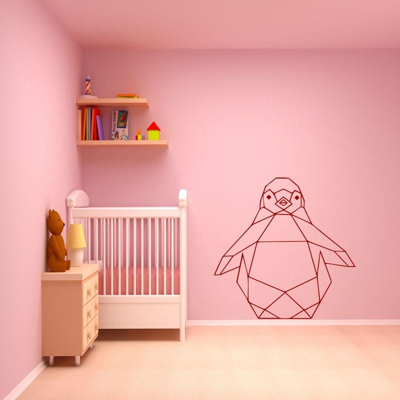 sticker pingouin en origami. Black Bedroom Furniture Sets. Home Design Ideas
