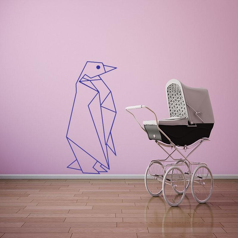 sticker manchot en origami. Black Bedroom Furniture Sets. Home Design Ideas