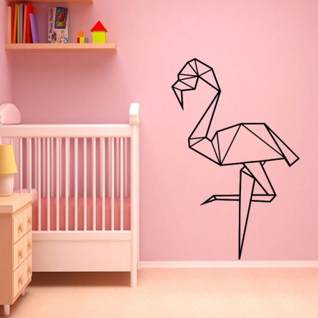 sticker flamant rose en origami. Black Bedroom Furniture Sets. Home Design Ideas