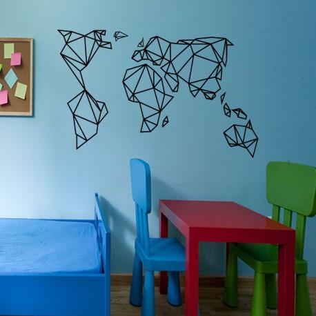 sticker carte du monde en origami. Black Bedroom Furniture Sets. Home Design Ideas