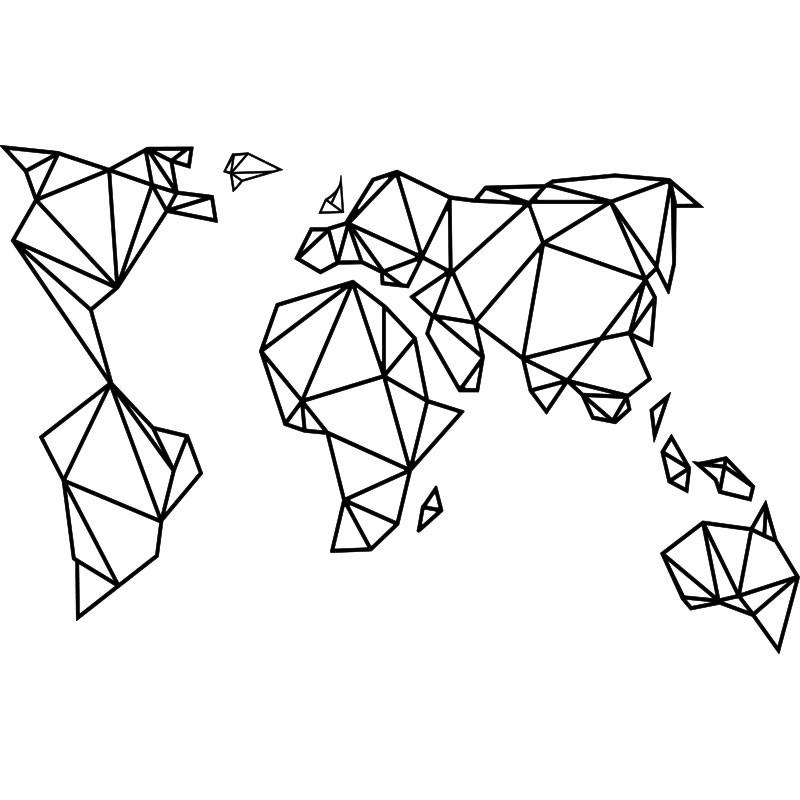 Carte Du Monde Origami.Sticker Carte Du Monde En Origami