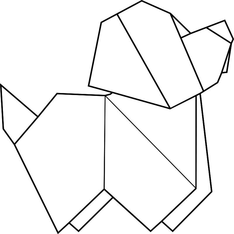sticker chien en origami. Black Bedroom Furniture Sets. Home Design Ideas