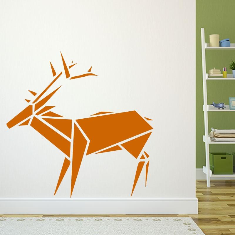 sticker cerf en origami. Black Bedroom Furniture Sets. Home Design Ideas