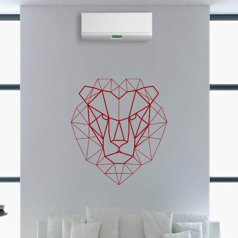 sticker t te de lion en origami. Black Bedroom Furniture Sets. Home Design Ideas