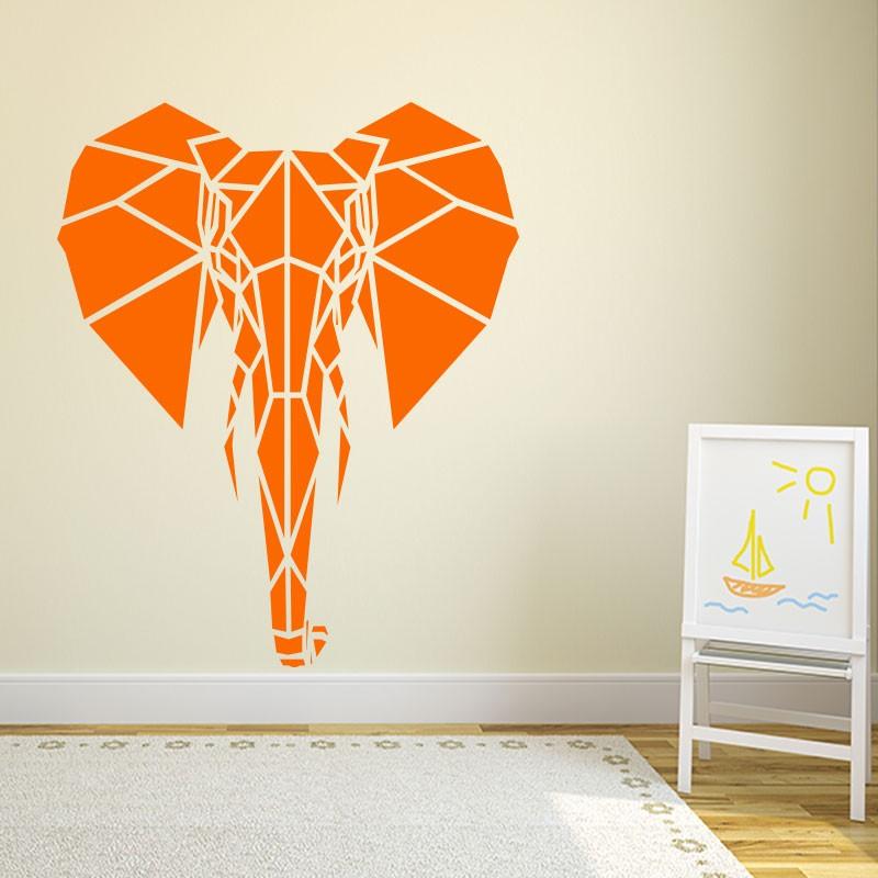 sticker t te d 39 l phant en origami. Black Bedroom Furniture Sets. Home Design Ideas