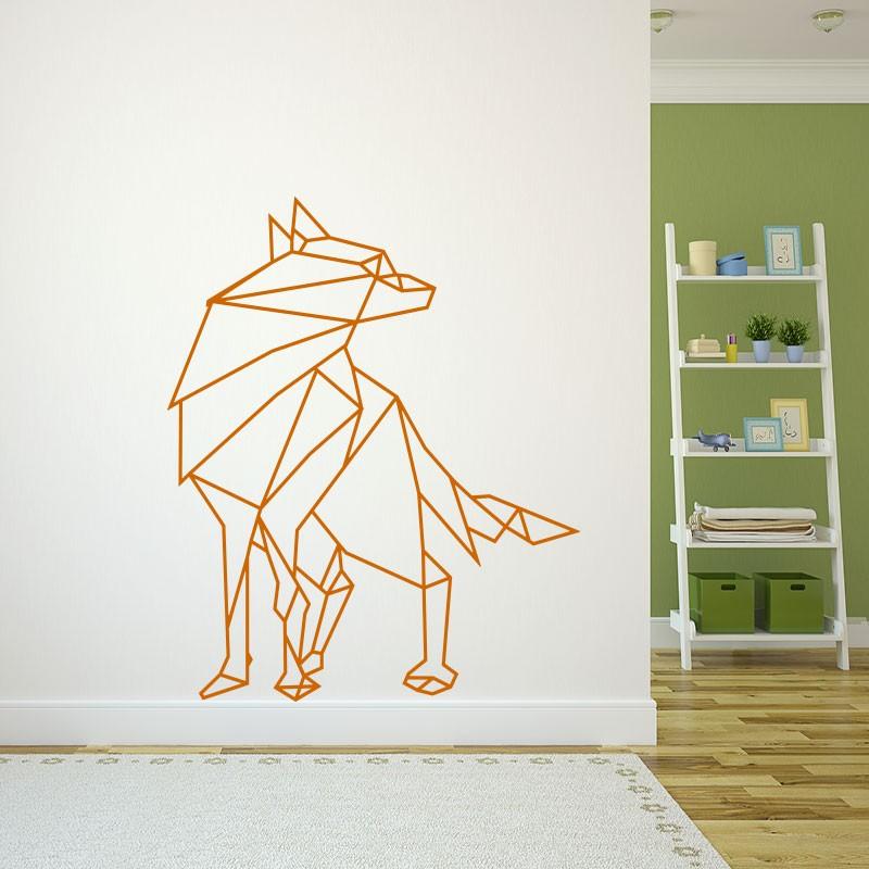 sticker loup en origami. Black Bedroom Furniture Sets. Home Design Ideas