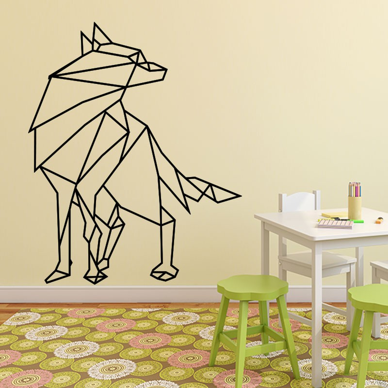 Chambre Deco Loup : Sticker loup en origami
