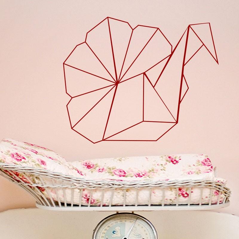 sticker paon en origami. Black Bedroom Furniture Sets. Home Design Ideas