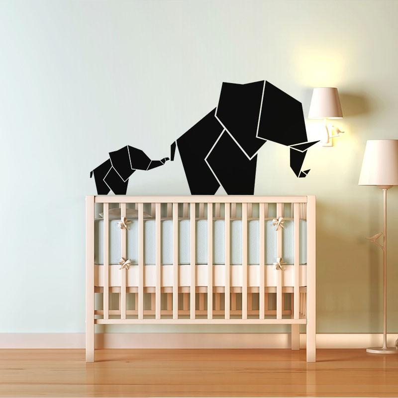 Sticker b b et maman l phant en origami for Stickers elephant chambre bebe
