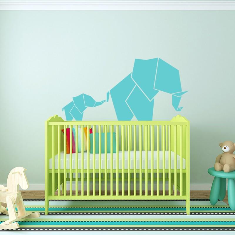 Sticker b b et maman l phant en origami - Stickers elephant chambre bebe ...