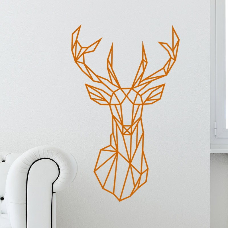 sticker t te de cerf en origami 2. Black Bedroom Furniture Sets. Home Design Ideas