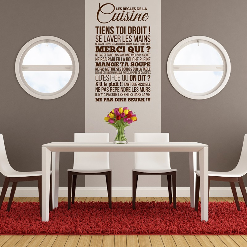 sticker les r gles de la cuisine stickers citation texte opensticker. Black Bedroom Furniture Sets. Home Design Ideas