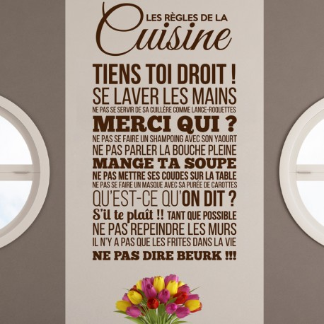 sticker les r gles de la cuisine stickers citation