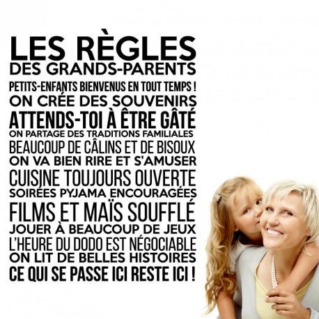 Sticker Les Regles Des Grands Parents Stickers Citation Texte