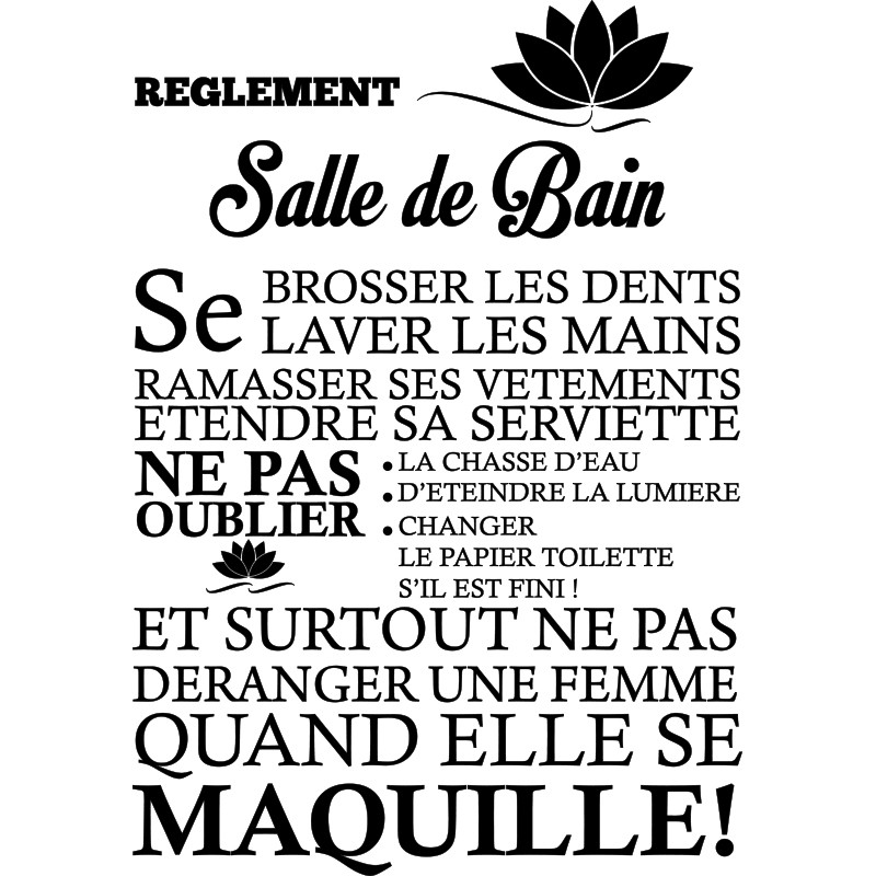Sticker Règlement de la salle de bain – stickers citation ...