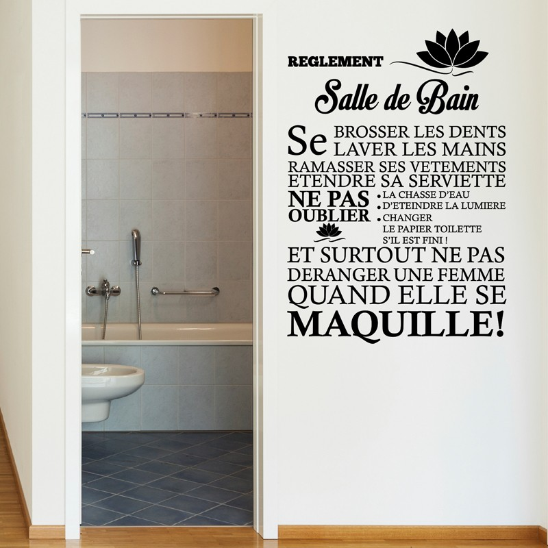 Sticker r glement de la salle de bain stickers citation for Sticker fenetre salle de bain