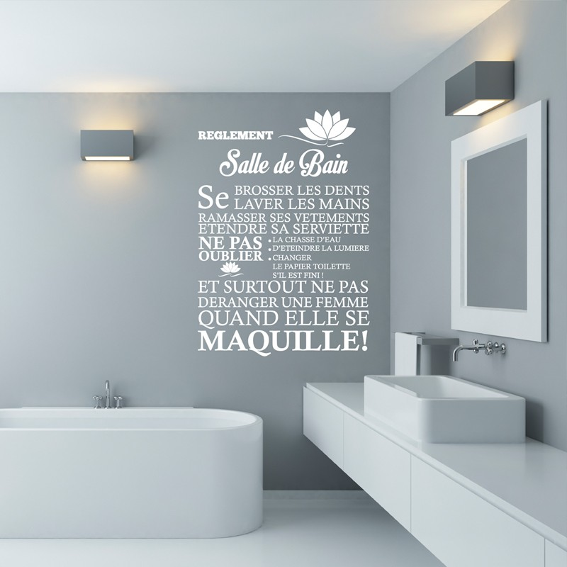 Sticker r glement de la salle de bain stickers citation texte opens - Stickers carreaux salle de bain ...