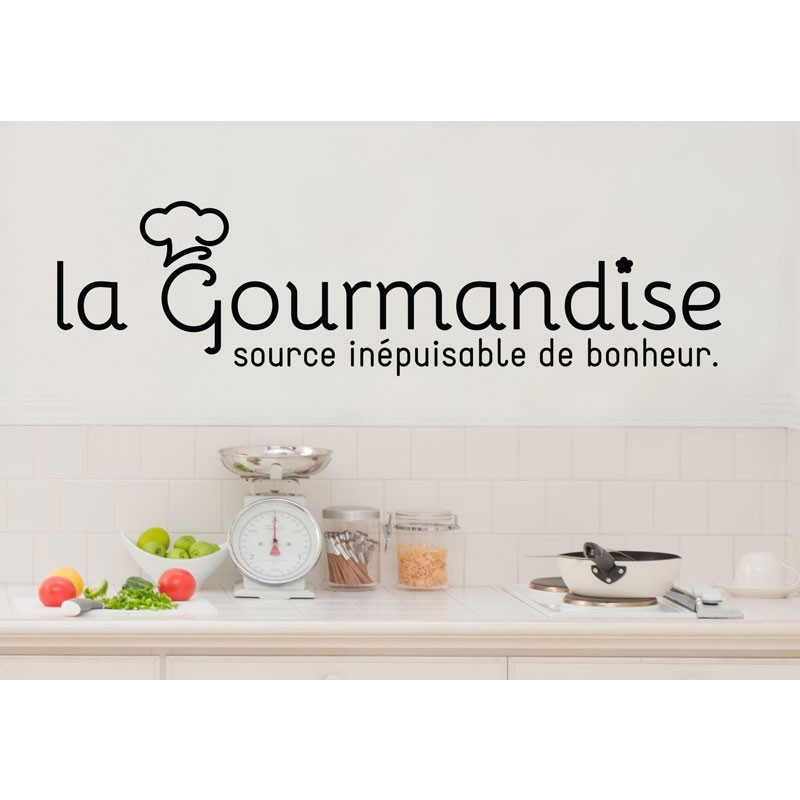 Sticker la gourmandise source de bonheur stickers for Decoration murale gourmandise